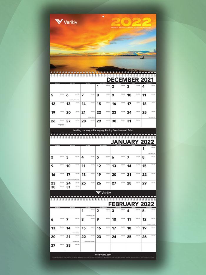 Veritiv Branded Three-Month Wall Calendar